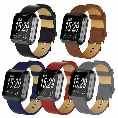 $ CDN15.43 • Buy For Fitbit Versa 2/Versa/ Lite Genuine Leather Band Replacement Wristband Strap
