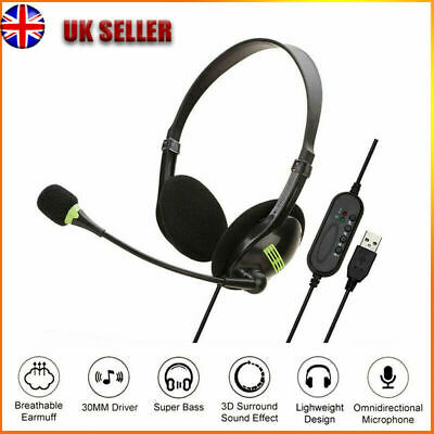 USB Headphones With Microphone Noise Cancelling Headset For Skype Laptop New • 7.89£