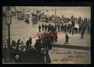 Malta Arrival Of The Pope's Delegation Real Photo Postcard 1913 - Ma382 • 10£