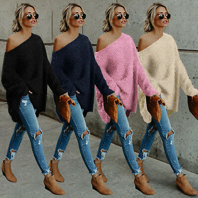 Women's Off The Shoulder Fluffy Sweater Loose Long Sleeve Jumper Pullover Top / • 9.49£
