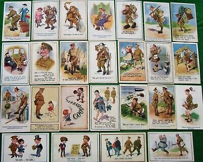 Collection X 25 WW1 Artist Signed Comic Postcards By Donald McGill Tommy Humour • 6.50£