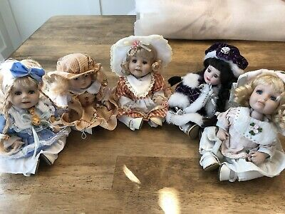 "$ CDN25.22 • Buy Lot Of 5 Porcelain Doll Set 7"" Pre Owned No Markings Pre Owned Adjustable Heads"