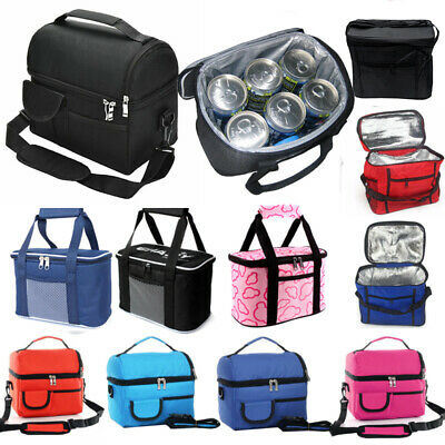 1x Large Thermal Insulated Lunch Box Cooler Bag Tote Picnic Food Drink Ice Packs • 7.69£