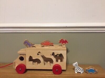 Big Jigs Truck Animal Shape Sorter All Wooden Toy Baby/toddlers Pull Along • 4.20£