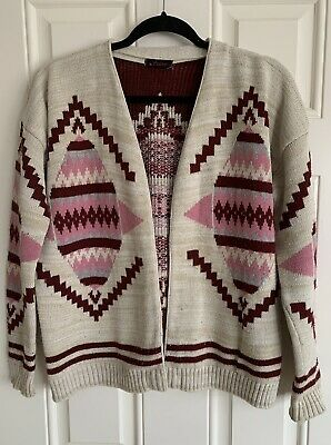 """Ladies Beige & Burgundy & Pink Aztec Patterned L/S Cardigan - One Size 42"""" Chest • 3.50£"""