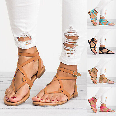Women Ladies Flip Flops Sandals Summer Gladiator Ankle Strappy Toe Post Shoes • 12.79£