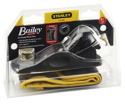 Stanley  150mm 601/2 Fully Adjustable Low Angle Block Plane With Pouch 5 12 060 • 38£