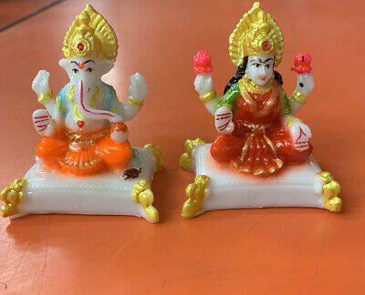 Diwali Pooja Office Home Decor Combo Set Of Laxmi-ganesh Statue Idol Murti • 10.90£