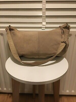 Mexx Tote Handbag Shoulder Bag Slouchy Bag 100% Suede Leather Beige Ex Condition • 19.99£