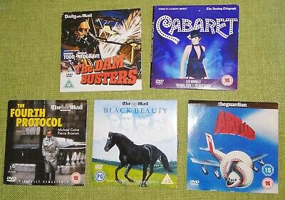 5 Newspaper DVDs Black Beauty - Fourth Protocol - Cabaret - Airplane Dam Busters • 3.99£