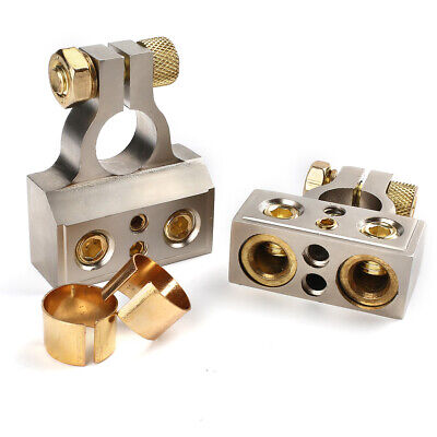 AU19.99 • Buy 2PC Dual 1/0 4 8 10 GA Gauge Positive & Negative Battery Terminal Connector Port