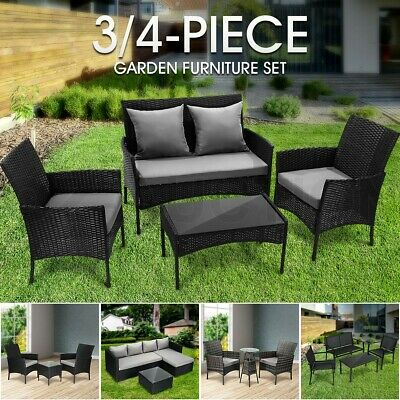 AU299.95 • Buy 4Pcs/3Pcs Gardeon Outdoor Sofa Set Patio Lounge Setting Furniture Chairs Table