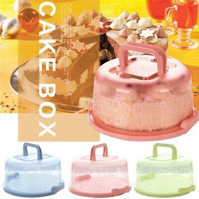 Plastic Cake Box Carrier Round Cupcake Storage Box Container Clear Cover Box • 7.05£