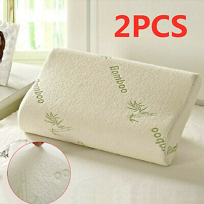 2 X Anti Bacterial Bamboo Memory Pillow Orthopedic Firm Head Neck Back Support • 10.99£