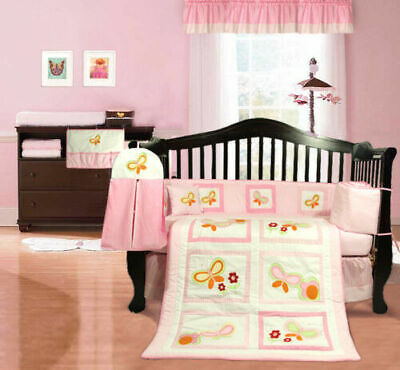 NEW Pink Baby Girl's Cotbed / Cot Bumper (nursery Bedding) Butterflies Flowery • 0.99£