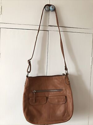 FOSSIL Women's Tan Brown Large Leather Shoulder Bag Handbag • 49.99£