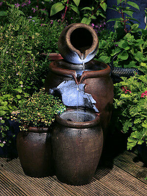 Honey Pot Cascading Jugs Fountain Garden Planter Water Feature With LED Lights • 84.99£