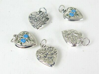 $ CDN13.21 • Buy Antique Sterling Silver 925 Puffy Heart Ladies Charm Lot Of 5 5.2g