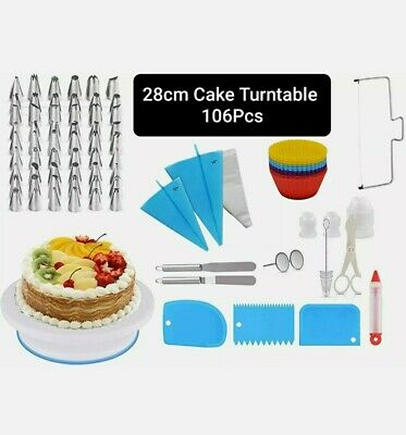 106 Pcs Cake Turntable Rotating Icing Decorating Revolving Kitchen Display Stand • 12.75£