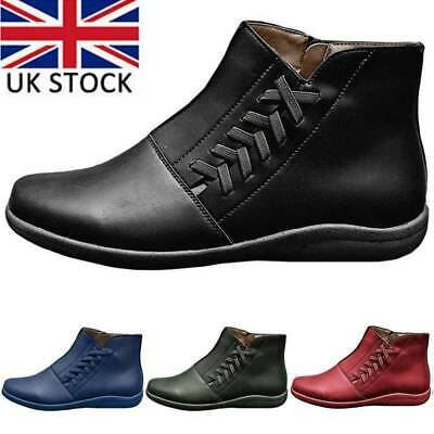 Women's Arch Support Flat Ankle Boots Ladies Winter Warm Lace Up Shoes Sizes UK • 13.79£