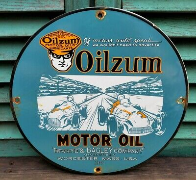 $ CDN26.06 • Buy Old Dated 1937 Vintage Oilzum Motor Oil Porcelain Enamel Gas Pump Sign Motor Oil