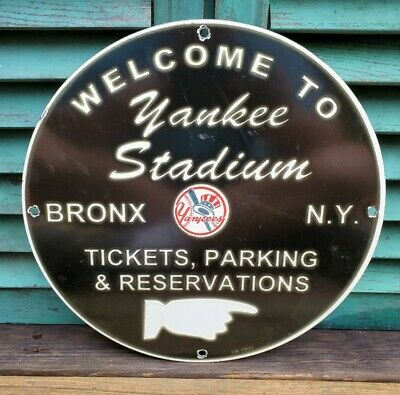 $ CDN80.20 • Buy Vintage New York Yankee's Porcelain Stadium Sign Gas Oil Pump Plate Bronx Ny Mlb
