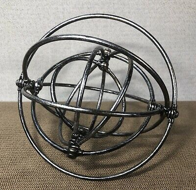 "6"" Folding Collapsible Metal Multi Ring Sculpture - Silver Decor Ball Sphere • 16.19£"