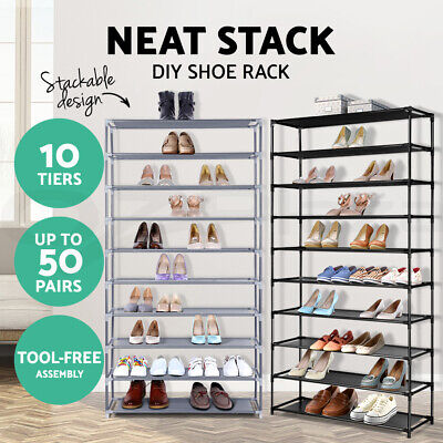 AU22.90 • Buy Shoe Rack 10 Tier Shelves Shoes Cabinet Storage 50 Pairs Organiser Steel Stand