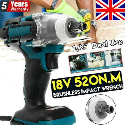 1/2  Torque Impact Wrench Brushless Cordless Replacement For 18V Makita Battery • 29.99£