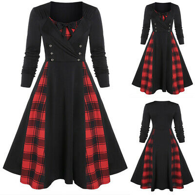Women Vintage Plaid Long Sleeve Midi Dress Gothic Steampunk Swing Slim Prom Gown • 9.75£