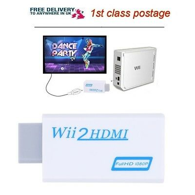 Wii Input To HDMI 1080P HD Audio Output Converter Adapter Cable 3.5mm Jack Lead • 3.88£