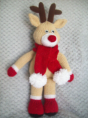 £1.99 • Buy Cute Rudolph Red Nose Reindeer Toy KNITTING PATTERN DK 40cm 15  Christmas Gift