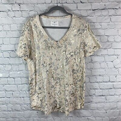 $ CDN32.89 • Buy Anthropologie Sol Angeles Womens Gold Foiled Tee T Shirt- Size XL