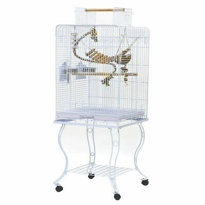 Open Play Top Bird Cage W Stand Parrot Aviary Budgie Conure Perch Castor Wheels  • 75.99£