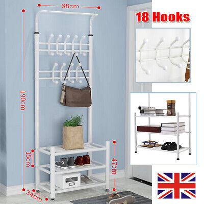 Metal Hat And Coat Stand Clothes Shoe Rack Rail Hanger 18 Hooks Shelf White • 21.97£
