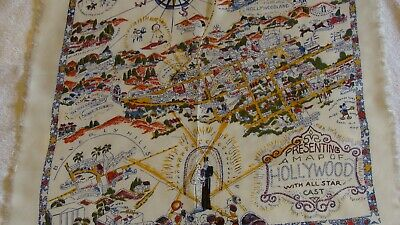 HOLLYWOOD, VINTAGE, SILK SCARF / MAP , With All Star Cast. , Fabulous NEW. • 35£
