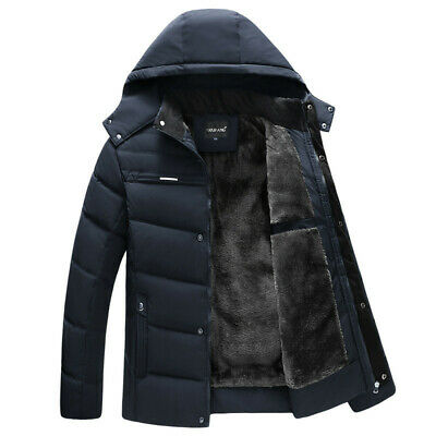£28.69 • Buy Men Winter Fur Lined Hooded Jacket Thick Warm Quilted Padded Parka Coat Outwear