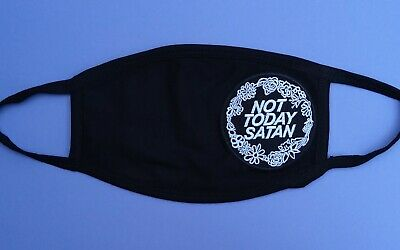 Black Cotton Face Mask: NOT TODAY SATAN - RuPaul's Drag Race Queen Gay LGBT Goth • 7.95£