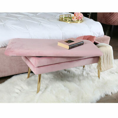 Blush Baby Pink Velvet And Gold Metal Storage Ottoman Bench Bedroom Seat Stool • 76.95£