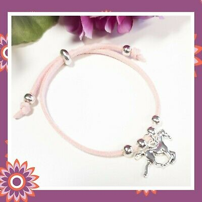 £3.99 • Buy Childs Horse Bracelet Pony Lilac Pink Green Suede Childrens Girls Gift Present