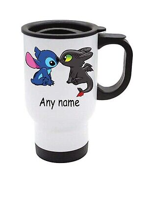 £13.99 • Buy Stitch Toothless Night Fury Dragon Travel Mug Can Be Personalised With Any Name