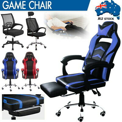 AU125 • Buy Gaming Chair Office Chairs Executive Computer Recliner Racer Seat Mesh /Footrest