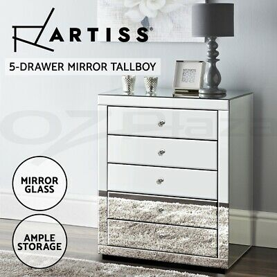 AU146.95 • Buy Artiss Chest Of Drawers Mirrored Tallboy 5 Drawers Dresser Table Storage Cabinet