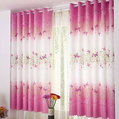 Blackout Curtains Butterfly Pattern Thermal Kids Children Room Window Curtain UK • 10.59£