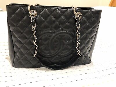 AU2900 • Buy CHANEL Caviar Grand Shopping Tote Chain Shoulder Bag Black