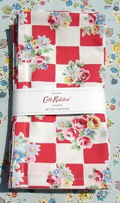 CATH KIDSTON - SET OF 4 NAPKINS - DAISY ROSE CHECK RED - COTTON - 45 X 45 CMS  • 15.99£