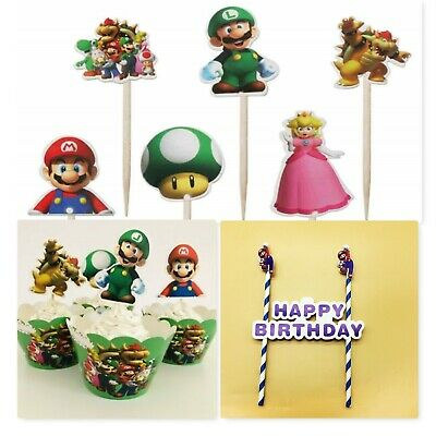 £2.44 • Buy Super Mario Cupcake Muffin Cake Wrappers Picks Toppers 12 24 36 48