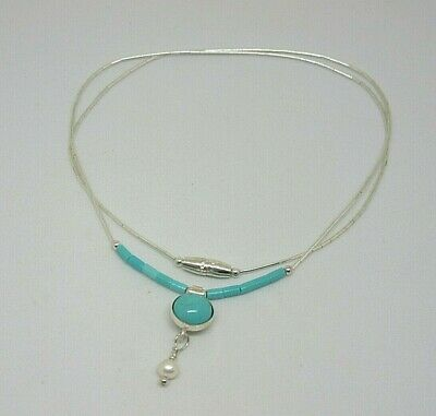 Southwestern Native American Sterling Silver Necklace Faux Turquoise  • 10.99£