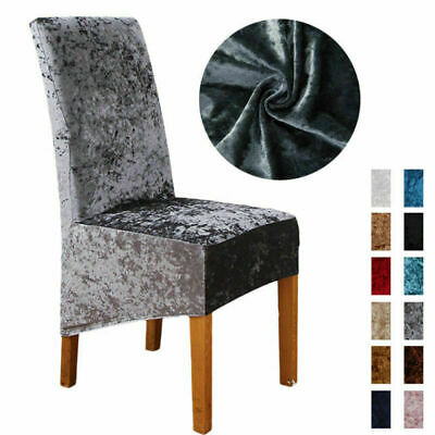 Dining Chair Covers Stretchable Crushed Velvet Protective Slipcover  Home Decor • 6.99£