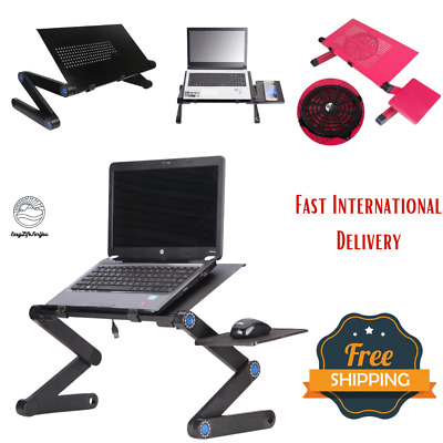 360° Portable Adjustable Laptop Folding Bed Stand Tray Lazy Cooling Fan Table • 43.11£